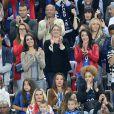 Marine Lloris (Femme de Hugo Loris), Sandra Evra (La femme de Patrice Evra), Ludivine Sagna (la femme de Bacary Sagna), Jennifer Giroud (la femme d'Olivier Giroud), Tiziri Digne (La femme de Lucas Digne), Sephora (la compagne de Kingsley Coman) et Ludivine Payet (la femme de Dimitri Payet) avec ses fils Noa et Milan lors du match du quart de finale de l'UEFA Euro 2016 France-Islande au Stade de France à Saint-Denis, France le 3 juillet 2016. © Cyril Moreau/Bestimage