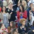 Ludivine Sagna (la femme de Bacary Sagna) et Jennifer Giroud (la femme d'Olivier Giroud) et Sandra Evra (La femme de Patrice Evra) lors du match du quart de finale de l'UEFA Euro 2016 France-Islande au Stade de France à Saint-Denis, France le 3 juillet 2016. © Cyril Moreau/Bestimage