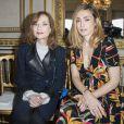 Isabelle Huppert et Julie Gayet assistent au défilé de haute joaillerie Boucheron à la maison Boucheron, au 26, place Vendôme. Paris, le 4 juillet 2016. © Olivier Borde / Bestimage