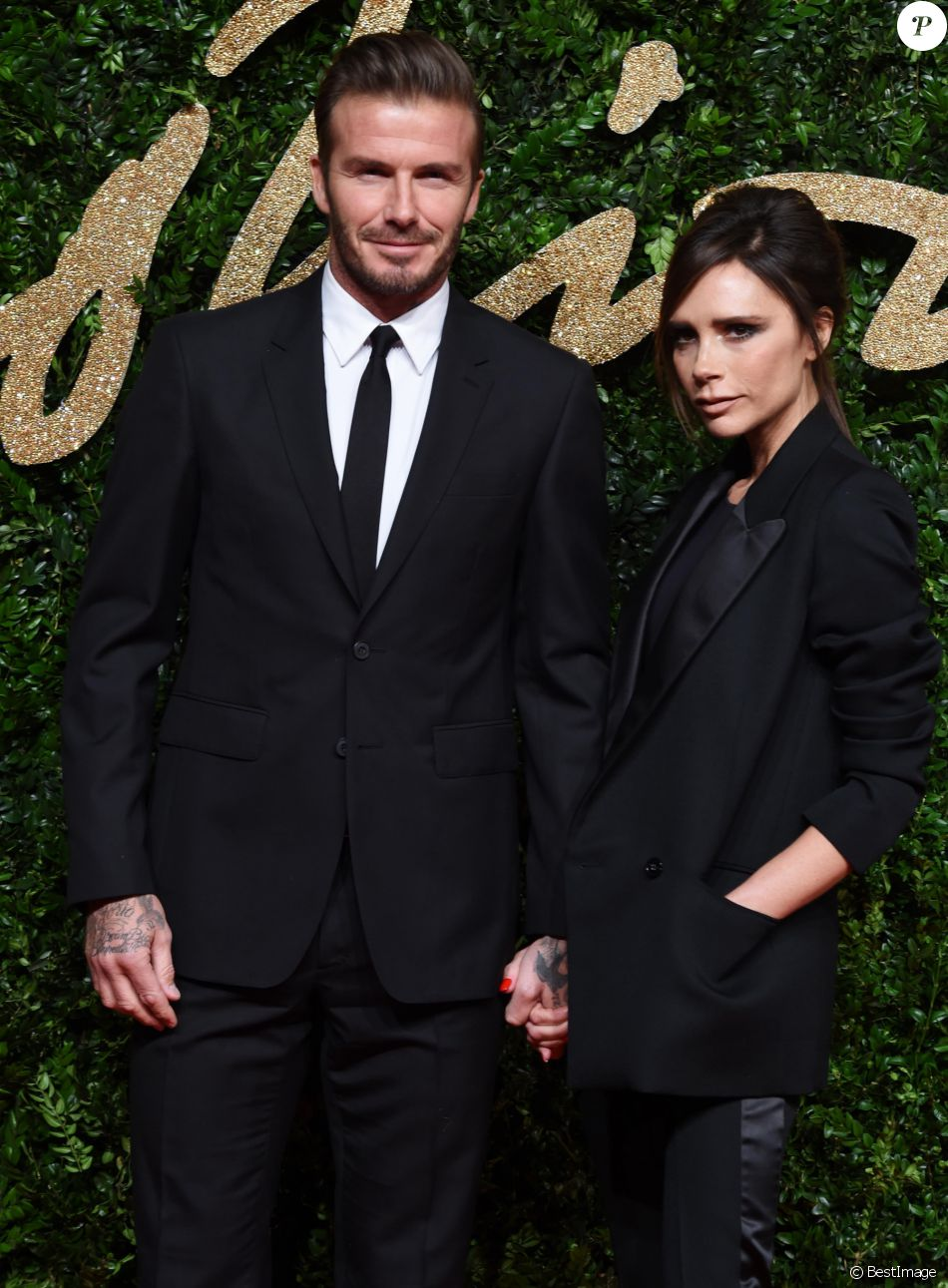 David Beckham et sa femme Victoria Beckham au British Fashion Awards 2015 à  Londres, le