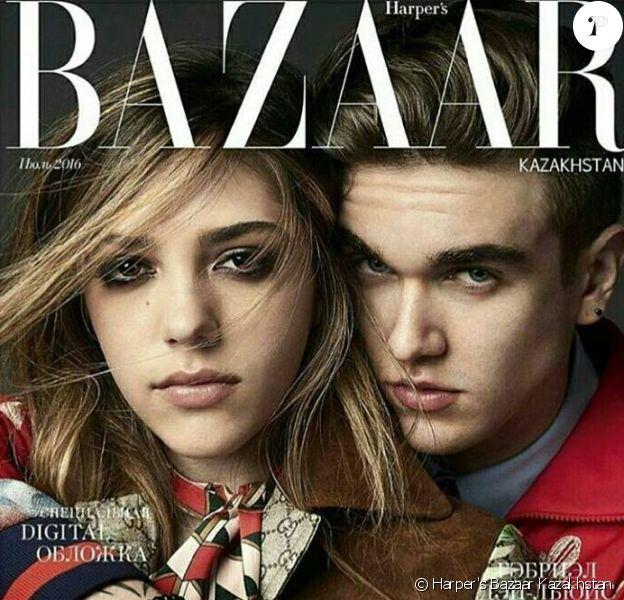 Couverture du Harper's Bazaar Kazakhstan avec Sistine Stallone et Gabriel-Kane Day-Lewis.