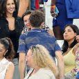 Laetitia Bernardini enceinte et son compagnon Yohan Cabaye lors du match de l'Euro 2016 Allemagne-France au stade Vélodrome à Marseille, France, le 7 juillet 2016. © Cyril Moreau/Bestimage