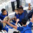 Patrice Evra, sa femme Sandra, sa fille, Maona et son fils, Lenny lors du match de l'Euro 2016 Allemagne-France au stade Vélodrome à Marseille, France, le 7 juillet 2016. © Cyril Moreau/Bestimage