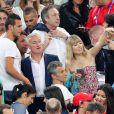 Didier Deschamps, Nagui et sa femme Mélanie Page lors du match de l'Euro 2016 Allemagne-France au stade Vélodrome à Marseille, France, le 7 juillet 2016. © Cyril Moreau/Bestimage