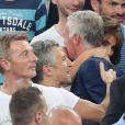 Didier Deschamps embrasse son épouse Claude à la fin du match de l'UEFA Euro 2016 Allemagne-France au stade Vélodrome à Marseille, France, le 7 juillet 2016. © Cyril Moreau/Bestimage