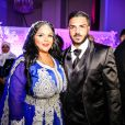 """Exclusif - Fiançailles de Sarah Fraisou (""""Les Anges 8"""") avec Malik, la cérémonie s'est déroulée dans une salle des fêtes de la région parisienne en présence de leurs familles le 8 juillet 2016."""