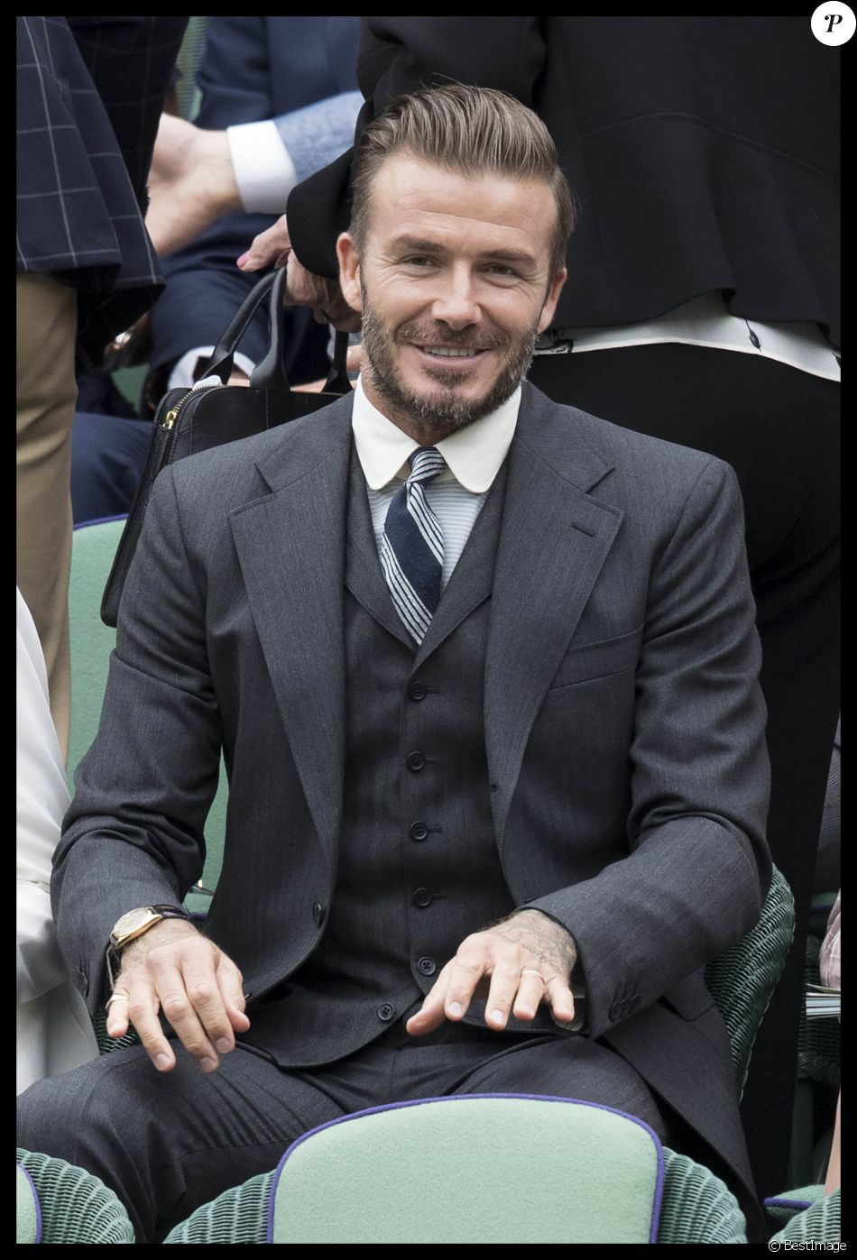 david beckham dans les tribunes royales wimbledon le 2 juillet 2016. Black Bedroom Furniture Sets. Home Design Ideas