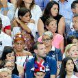 Malika Ménard, Isabelle (mère d'Antoine Griezmann) et Erika Choperena (compagne d'Antoine Griezmann) après le match de la finale de l'Euro 2016 Portugal-France au Stade de France à Saint-Denis, France, le 10 juillet2016. © Cyril Moreau/Bestimage