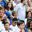 Isabelle (Mère d'Antoine Griezmann) et Erika Choperena (Compagne de Antoine Griezmann) lors du match de la finale de l'Euro 2016 Portugal-France au Stade de France à Saint-Denis, France, le 10 juillet2016. © Cyril Moreau/Bestimage