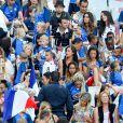 Marine Lloris (Femme de Hugo Loris), Ludivine Sagna (Femme de Bacary Sagna), Ludivine Payet (la femme de Dimitri Payet), ses fils milan et Noa, Camille Sold (Compagne de Morgan Schneiderlin), Sandra Evra (Femme de Patrice Evra) et Sephora (la compagne de Kingsley Coman) lors du match de la finale de l'Euro 2016 Portugal-France au Stade de France à Saint-Denis, France, le 10 juillet2016. © Cyril Moreau/Bestimage