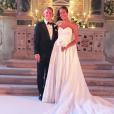 Ana Ivanovic dans sa robe de mariée Suzie Turner Couture à Venise le 13 juillet 2016, quelques minutes avant son mariage religieux avec Bastian Schweinsteiger en l'église Santa Maria della Misericordia. Photo Instagram.