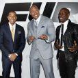 """Ludacris, Dwayne Johnson, Tyrese Gibson lors de l'avant-première du film """"Fast and Furious 7"""" à Hollywood, le 1 avril 2015."""