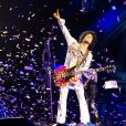 Le chanteur Prince en concert à Manchester. Le 16 mai 2014
