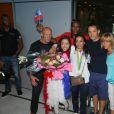 Sarah Ourahmoune et les siens - Arrivées des athlètes des Jeux olympiques de Rio 2016 à l'aéroport de Roissy. Le 23 août 2016.
