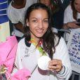 Sarah Ourahmoune - Arrivées des athlètes des Jeux olympiques de Rio 2016 à l'aéroport de Roissy. Le 23 août 2016.