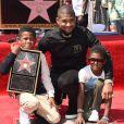 Usher et ses enfants Naviyd Raymond et Usher Raymond V -Usher inaugure son étoile sur le Walk of Fame à Hollywood, le 7 septembre 2016.