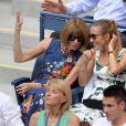 Anna Wintour et Jelena Djokovic lors des demi-finales hommes à l'US Open à New York le 9 septembre 2016.