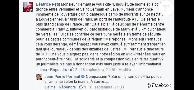 Jean-Pierre Penaut répond à un commentaire sur Facebook. Septembre 2016.