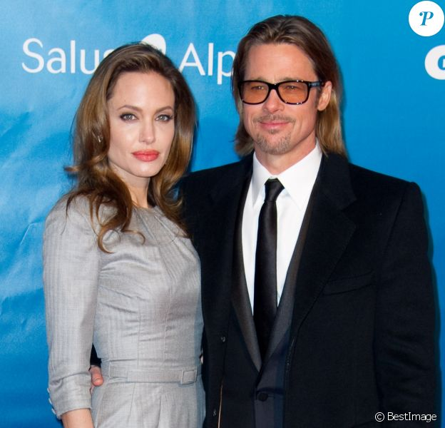 Brad Pitt et Angelina Jolie a la soiree de Gala: Cinema for Peace 2012, à Berlin le 13 février 2012