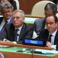 Jean-Louis Borloo, Jean-Marc Ayrault et François Hollande - La délégation française aux Nations Unis assiste aux discours de l'assemblée générale à New York le 20 septembre 2016.