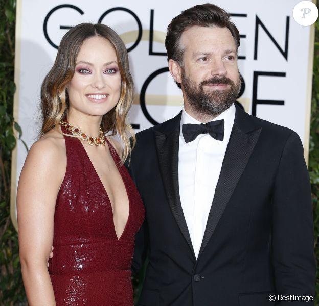 Olivia Wilde et son fiancé Jason Sudeikis - La 73ème cérémonie annuelle des Golden Globe Awards à Beverly Hills, le 10 janvier 2016.
