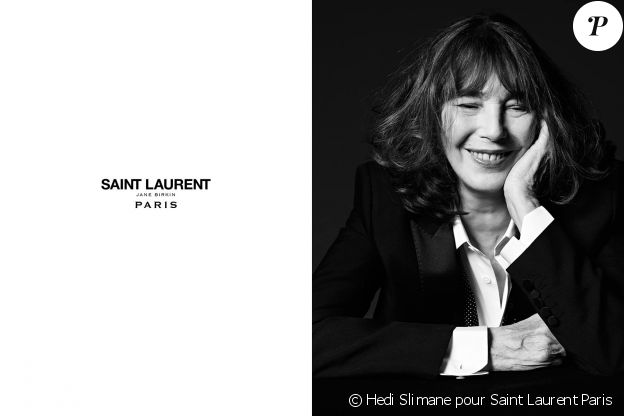 Jane Birkin, nouvelle égérie pour la maison Saint Laurent Paris, printemps 2016.