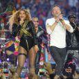 Beyonce et Chris Martin lors du show de la mi-temps de la finale du Super Bowl le 7 février 2016.