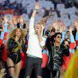 Beyonce, Chris Martin et Bruno Mars lors du show de la mi-temps de la finale du Super Bowl le 7 février 2016.