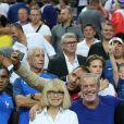 Mireille Darc, Nikos Aliagas et Jean-Claude Darmon - People au match de la finale de l'Euro 2016 Portugal-France au Stade de France à Saint-Denis le 10 juillet 2016. © Cyril Moreau / Bestimage