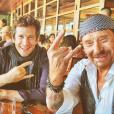 """Yodelice, Guillaume Canet et Johnny Hallyday en Californie (photo postée le 3 octobre 2016)"""