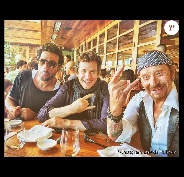 Yodelice, Guillaume Canet et Johnny Hallyday en Californie (photo postée le 3 octobre 2016)