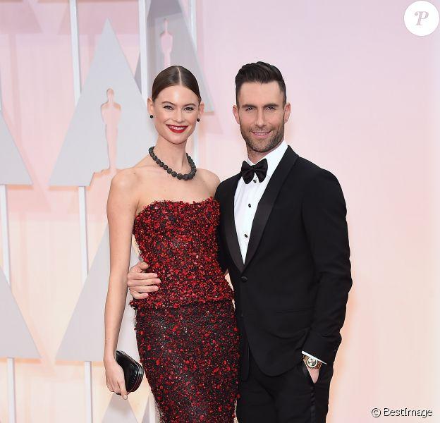 Adam Levine et sa compagne Behati Prinsloo - People à la 87ème cérémonie des Oscars à Hollywood le 22 février 2015