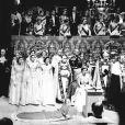 La reine Elisabeth II et son mari le prince Philip lors de la cérémonie du couronnement, le 2 juin 1953 en l'abbaye de Westminster.