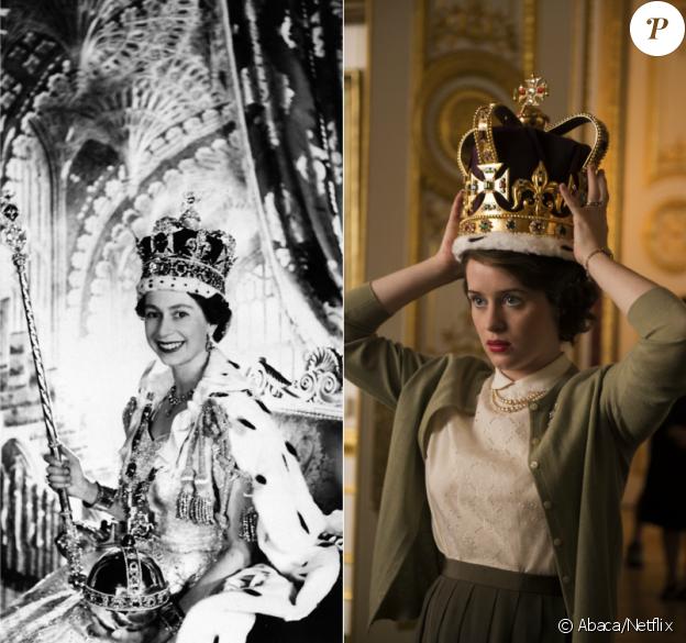 La reine Elisabeth II le jour de son couronnement, le 2 juin 1953 / Claire Foy, qui l'incarne dans la série Netflix The Crown, attendue le 4 novembre 2016.