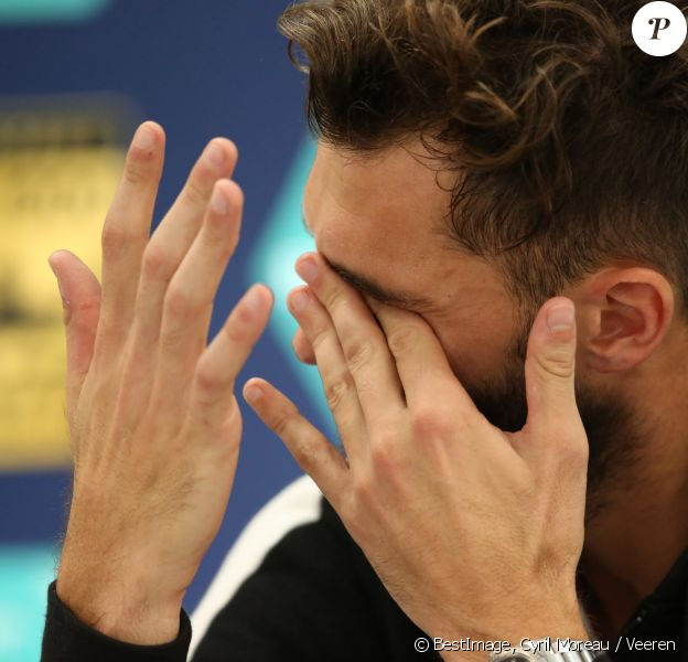 Benoît Paire est apparu très éprouvé moralement et au bord des larmes après sa défaite au premier tour du BNP Paribas Masters à Paris le 31 octobre 2016. © Cyril Moreau / Veeren / Bestimage