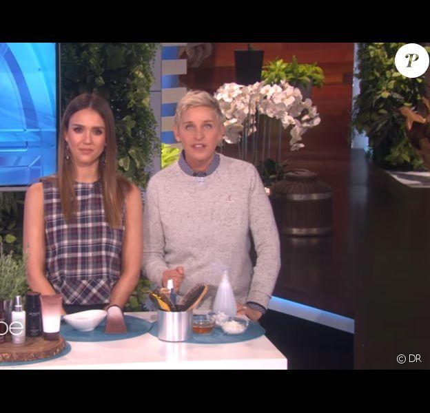 Jessica Alba et Ellen DeGeneres sur le plateau du talk-show de l'animatrice lundi 7 novembre 2016