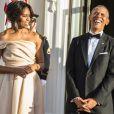 """""""Le président américain Barak Obama et sa femme Michelle Obama attendent leurs invités - Dîner à la Maison Blanche lors du sommet des chefs d'Etat de cinq pays nordiques à Washington le 14 mai 2016."""""""