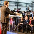 Brigitte Macron assiste à l'annonce de candidature à la présidentielle 2017 de son mari Emmanuel Macron dans un centre d'apprentissage à Bobigny, le 16 novembre 2016. © Cyril Moreau-Sébastien Valiella/Bestimage