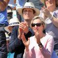 Exclusif - Virginie Calmels, adjointe d'Alain Juppé à la mairie de Bordeaux, assiste avec son compagnon Jérôme Chartier, député Les Républicains du Val d'Oise à la finale du tournoi de Tennis de Bordeaux, le 16 Mai 2016. © Patrick Bernard-Quentin Salinier/Bestimage