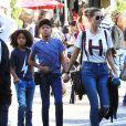 Exclusif - Heidi Klum et ses enfants Henry et Johan à Los Angeles, le 25 novembre 2016.