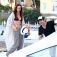 Gerard Butler et sa compagne Morgan Brown arrivent à Ischia pour le festival du film le 11 juillet 2016.