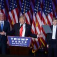 """""""Donald Trump avec son fils Barron et Mike Pence lors de son discours au Hilton New York après son élection à la présidence des Etats-Unis. New York, le 9 novembre 2016."""""""