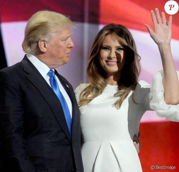 Donald Trump et sa femme Melania Trump lors du 1er jour de la convention républicaine à Cleveland, le 18 juillet 2016.