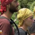 """Benoît, Jesta et Freddy sur les poteaux - Finale de """"Koh-Lanta, L'île au trésor"""". Sur TF1, le 9 décembre 2016."""
