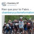 Chambéry Cyclisme Formatio rend hommage à Etienne Fabre, jeune cycliste d'AG2R, décédé le 10 décembre 2016. Photo publiée sur Twitter le 11 décembre 2016.