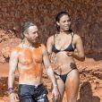 David Guetta et sa compagne Jessica Ledon en vacances à Ibiza. Espagne, le 28 juillet 2016.