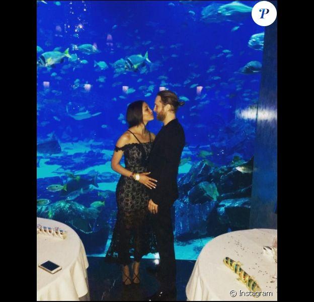 Jessica Ledon et David Guetta célébrant le Nouvel An 2017 à Dubaï.