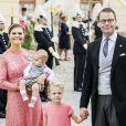 La princesse Victoria, le prince Daniel de Suède et leurs enfants le prince Oscar et la princesse Estelle au baptême du prince Alexander de Suède au palais Drottningholm à Stockholm le 9 septembre 2016.