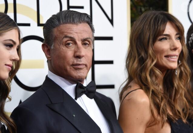 Sylvester Stallone, sa femme Jennifer Flavin - La 74e cérémonie annuelle des Golden Globe Awards à Beverly Hills, le 8 janvier 2017.