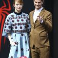 """Emma Stone et son petit-ami Andrew Garfield lors du photocall du film """"The Amazing Spider-Man 2 : le destin d'un Héros"""" au Sony Center à Berlin, le 15 avril 2014."""